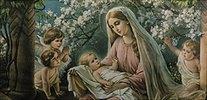 Maria unter Kirschblüten mit Jesuskind und Engeln