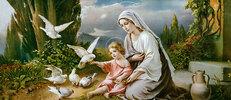 Maria und das Jesuskind mit Tauben spielend in einer idealisierten