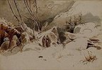 Verschneiter Hochpaß mit Mönchen