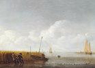 Stille See mit Fischern beim Einholen der Netze