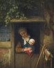 Mutter mit Kind an einer Tür