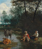 Zwei Hirtinnen mit ihrer Herde an einem Bach