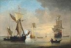 Eine englische Galiote vor Anker und Fischer beim Auslegen