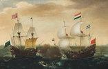 Ein Gefecht zwischen einem niederländischen und einem türkischen Schiff