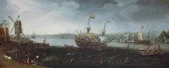 Ein Handelsschiff vor dem Hafen von Vlissingen