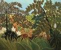 Exotische Landschaft mit spielenden Affen