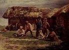 Spielende russische Dorfkinder