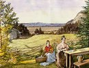Blick über eine Hügellandschaft mit zwei Frauen an einem Tisch