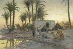 Beduinenkamp bei Gerzereh nach Sonnenuntergang