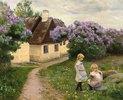 Spielende Mädchen im Garten