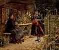 Junge Frau in Dachauer Tracht zu Besuch bei der greisen Bäuerin
