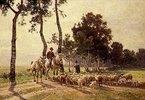 Schafhirte mit Herde beim Schwatz mit einem berittenen Bauern