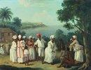 Tanz der Eingeborenen auf der Insel Dominica, im Hintergrund das Fort Young