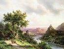 Wanderer an einer Flußlandschaft mit Burgruinen