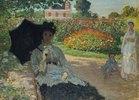 Camille Monet mit Sohn und Kindermädchen im Garten