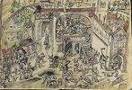 Die Plünderung des Klosters Weissenau. Federzeichnung von Jakob Murner