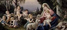 Maria mit Jesuskind, Schaf und Putten in einer idealisierten Landschaft