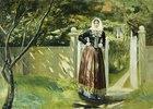 Frau in dänischer Tracht am Gartentor