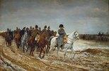 Napoleon und die Generäle Ney, Berthier, Drouaut, Gourgaud und de Flahaut im Feldzug