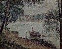 Flußlandschaft mit Dampfboot