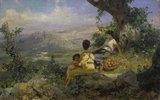 Pause bei der Apfelernte in südlicher Landschaft