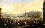 Französische und spanische Truppen vor einer oberitalienischen Stadt