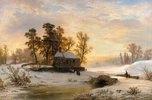 Kirchgang in niederrheinischer Winterlandschaft