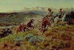 Cowboys beim Einfangen einer Herde