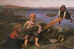 Fischerkinder auf einer Wippe am Strand