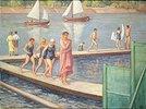 Badende am Steg mit Segelbooten