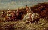 Ein arabischer Reitertrupp an einer Wasserstelle