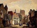 Strassen-Szene in Rotterdam mit der St.Laurens-Kirche