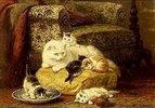 Katzenmutter mit Jungen