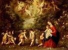 Rast auf der Flucht nach Ägypten. (Die Landschaft von Jan Brueghel d.Ä.)