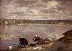 Wäscherinnen am Ufer des Flusses Touques