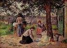 Frauen in einem Innenhof bei Hausarbeit