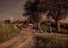 Bäuerin mit Gänsen auf dem abendlichen Heimweg