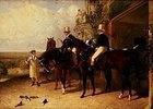 Postillons auf ihren Pferden in Erwartung einer Postkutsche