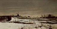 Spätwinterlandschaft mit Windmühle