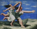 Laufende Frauen am Strand (Wettlauf)