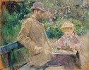 Eugene Manet mit seiner Tochter in Bougival