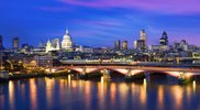 Look over the Thames on Saint Paul's Cathedral and the skyline of London, Great Britain