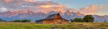 Historische Ranch an der Mormon Row, Grand Teton Nationalpark, Wyoming, USA
