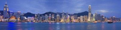 Blick von Kowloon zur Skyline von Hongkong, China