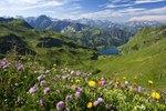 Seealpsee mit der Höfats und den Allgäuer Alpen im Nebelhorngebiet bei Oberstdorf im Allgäu