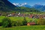 Blick nach Ohlstadt gegen Wettersteingebirge, Oberbayern