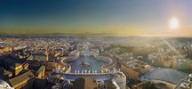Panoramic City overview from St. Peter Dome, Petersplatz, Provinz Roma, Vatikan, Rom, Latium, Italien