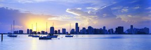 View of the skyline from Key Biscayne, Miami, Florida, Vereinigte Staaten, USA