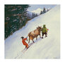 Schnee, Skifahren, Skilift, Cartoon, Berge, Kuh, Bauer