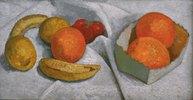 Stilleben mit Orangen, Bananen, Zitronen und Tomate